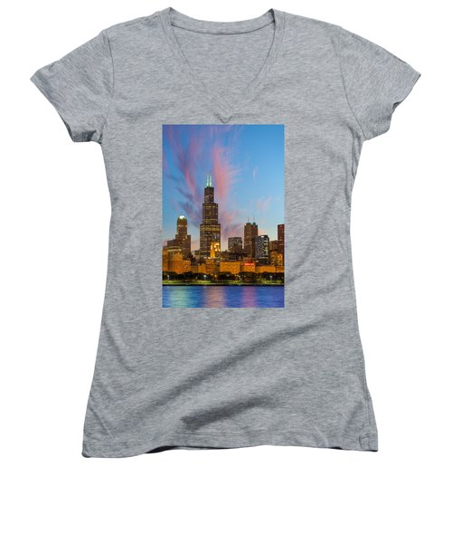 Women's V-Neck T-Shirt (Junior Cut) featuring the photograph Sears Tower Sunset by Sebastian Musial