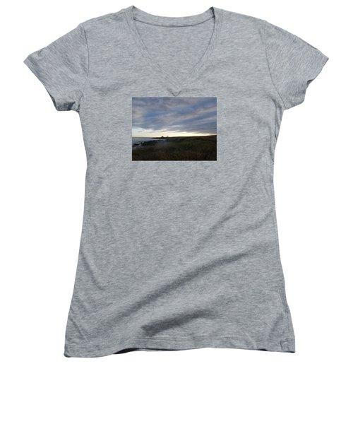 Seascape Women's V-Neck T-Shirt (Junior Cut) by Robert Nickologianis