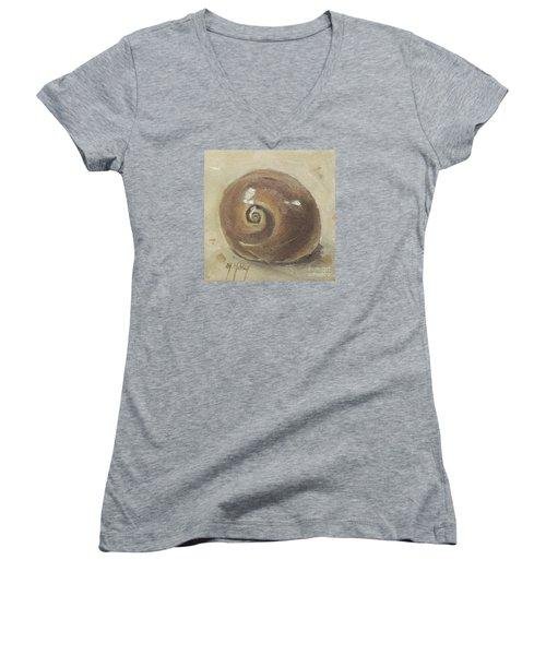 Seashell Beach Moon Shell Snail  Women's V-Neck T-Shirt (Junior Cut) by Mary Hubley