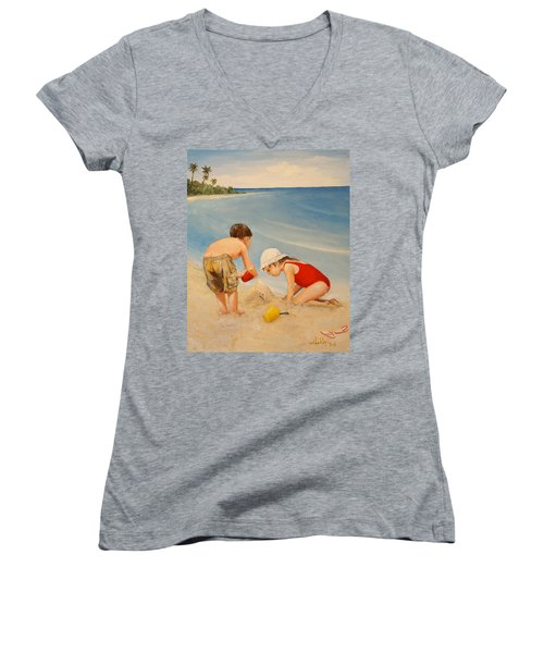 Women's V-Neck T-Shirt (Junior Cut) featuring the painting Seashell Sand And A Solo Cup by Alan Lakin
