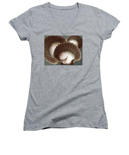 Seashells Spectacular No 22 Women's V-Neck T-Shirt (Junior Cut) by Ben and Raisa Gertsberg