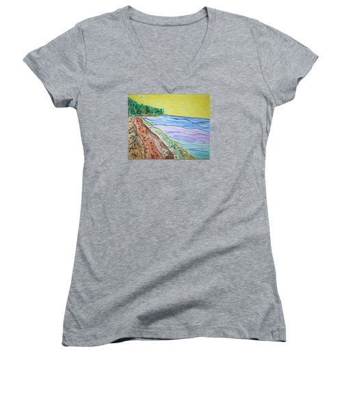 Women's V-Neck T-Shirt (Junior Cut) featuring the painting Seashore Bright Sky by Stormm Bradshaw