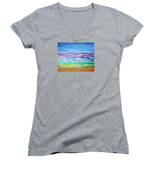 Women's V-Neck T-Shirt (Junior Cut) featuring the painting Seashore Blue Sky by Stormm Bradshaw