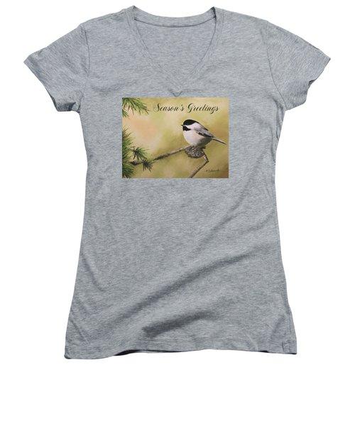 Season's Greetings Chickadee Women's V-Neck T-Shirt