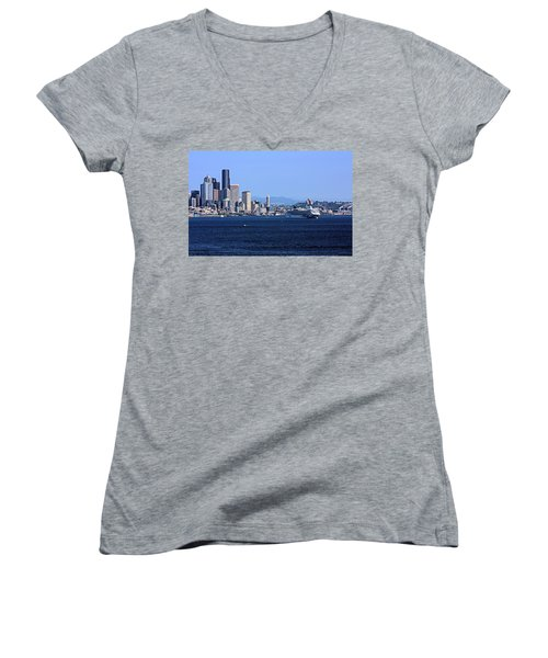 Seattle Skyscrapers Women's V-Neck T-Shirt (Junior Cut) by Kristin Elmquist