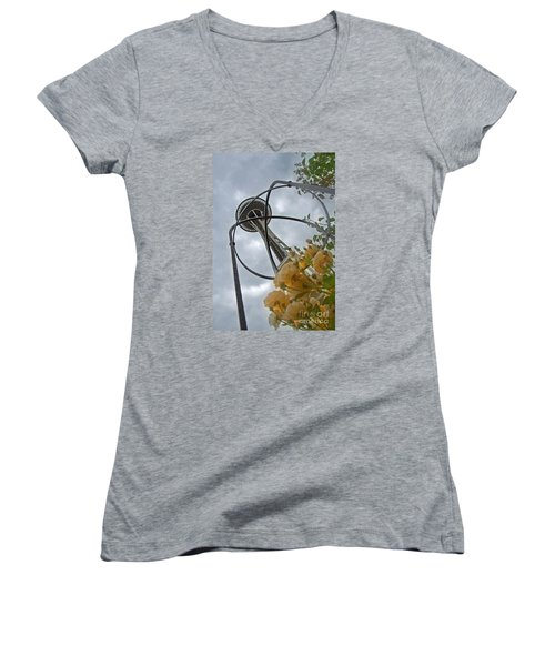 Seattle Spaceneedle With Watercolor Effect Yellow Roses Women's V-Neck T-Shirt (Junior Cut) by Valerie Garner