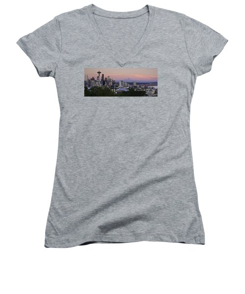 Seattle Sunset - Kerry Park Women's V-Neck (Athletic Fit)