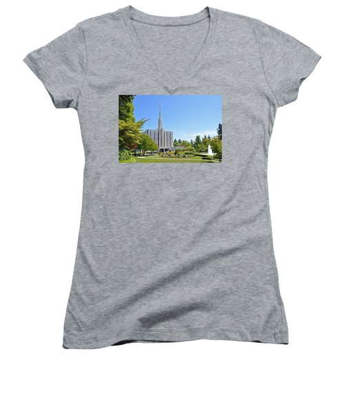 Seattle Temple - Horizontal Women's V-Neck T-Shirt