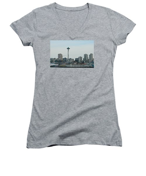Seattle Washington Women's V-Neck T-Shirt (Junior Cut) by Chalet Roome-Rigdon