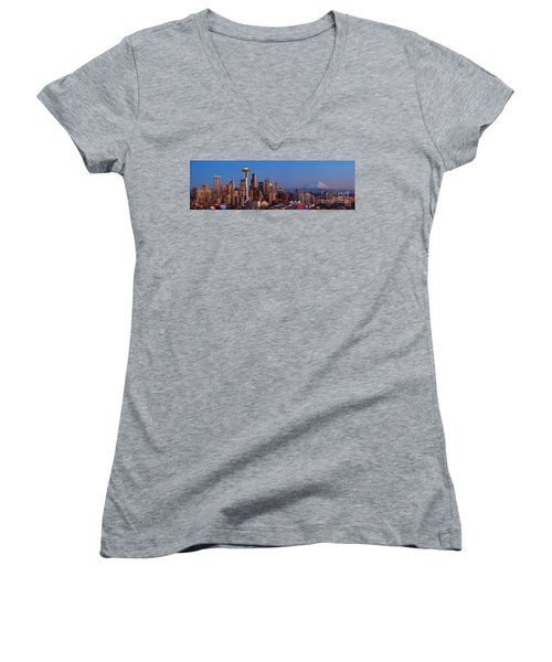 Seattle Winter Evening Panorama Women's V-Neck (Athletic Fit)