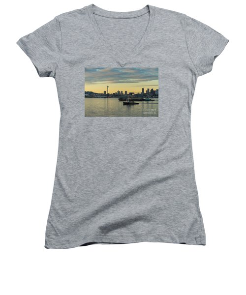 Seattles Working Harbor Women's V-Neck T-Shirt (Junior Cut) by Mike Reid