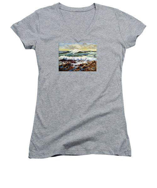 Women's V-Neck T-Shirt (Junior Cut) featuring the painting Seawall by Lee Piper