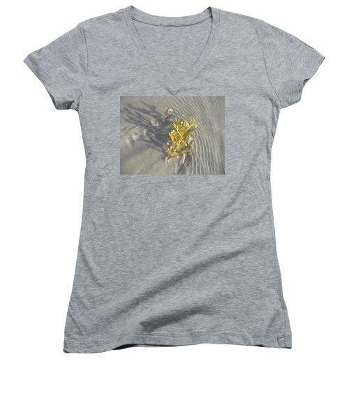 Seaweed Sand Women's V-Neck T-Shirt (Junior Cut)