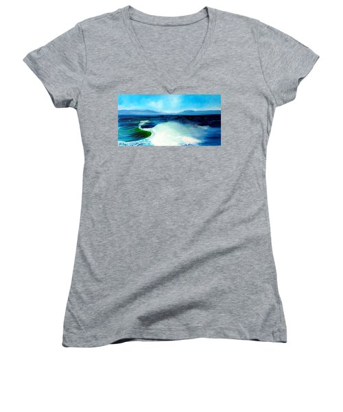 Secret Beach Surf Art Women's V-Neck T-Shirt