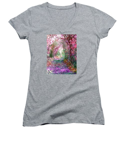 Women's V-Neck T-Shirt (Junior Cut) featuring the photograph Secret Garden by Vicki Spindler