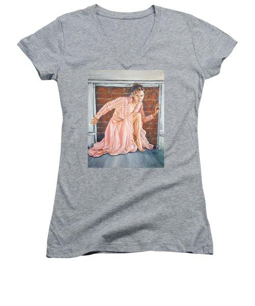 Secret Passage Women's V-Neck T-Shirt (Junior Cut) by Bryan Bustard