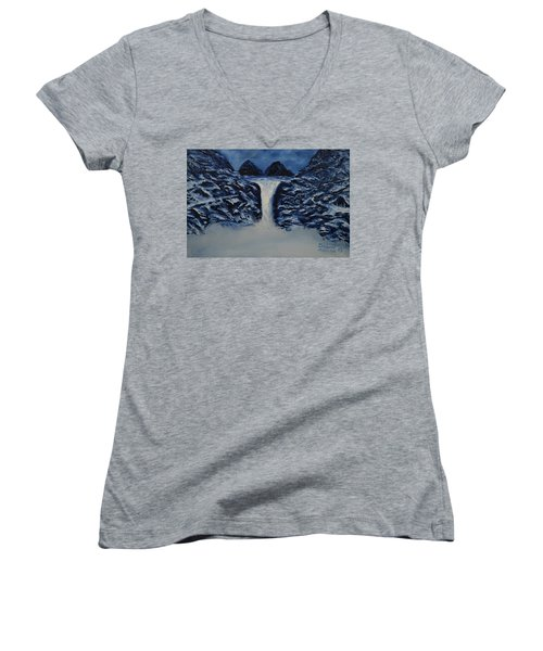 Women's V-Neck T-Shirt (Junior Cut) featuring the painting Secret Places by Shawn Marlow