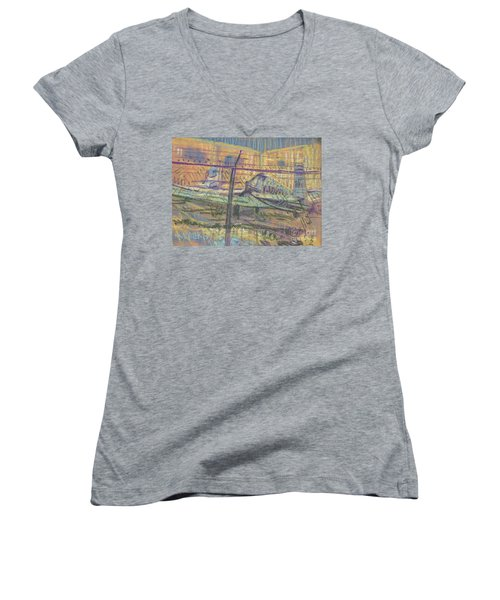 Women's V-Neck T-Shirt (Junior Cut) featuring the painting Secured Planes by Donald Maier
