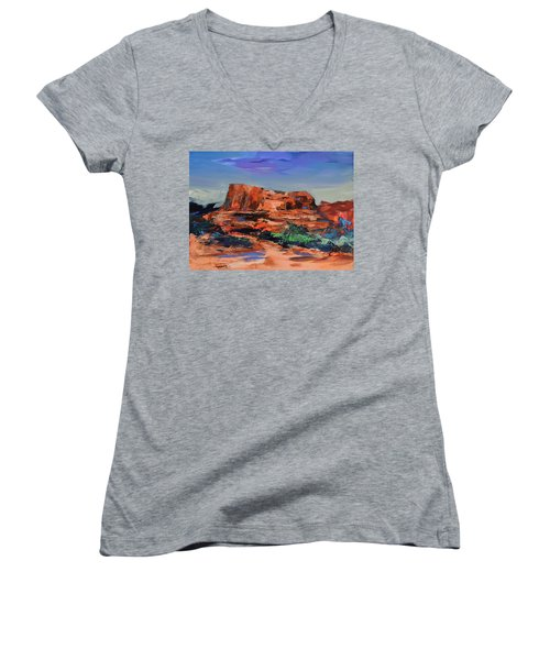 Courthouse Butte Rock - Sedona Women's V-Neck (Athletic Fit)