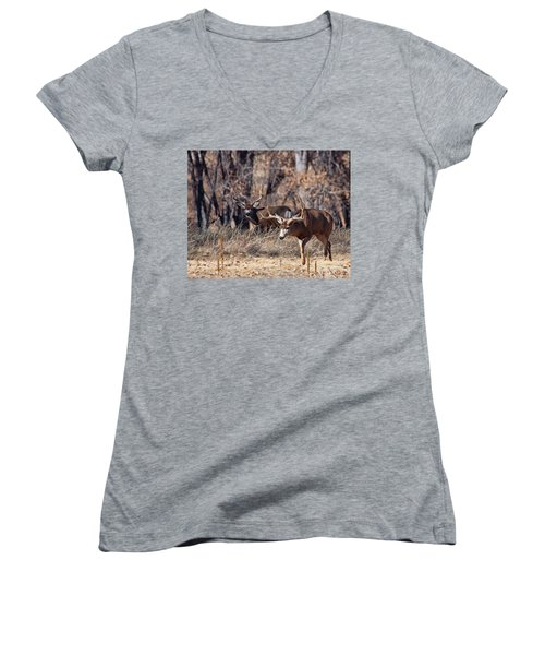 Women's V-Neck T-Shirt (Junior Cut) featuring the photograph Seeing Double by Jim Garrison