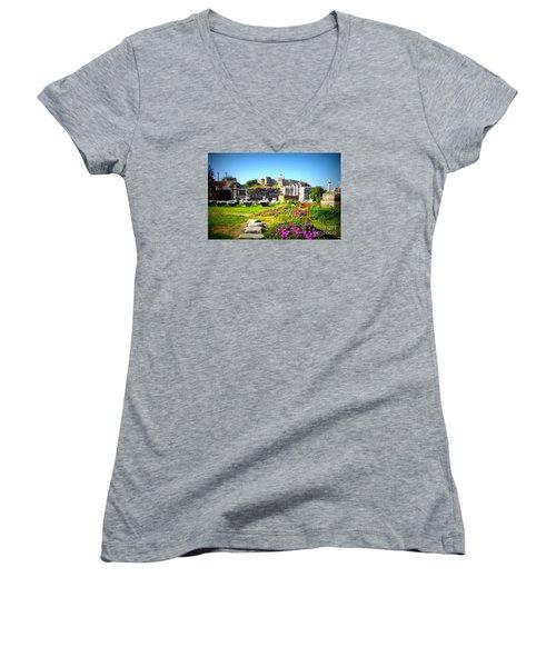 Women's V-Neck T-Shirt (Junior Cut) featuring the photograph Selcuk Castle by Lou Ann Bagnall