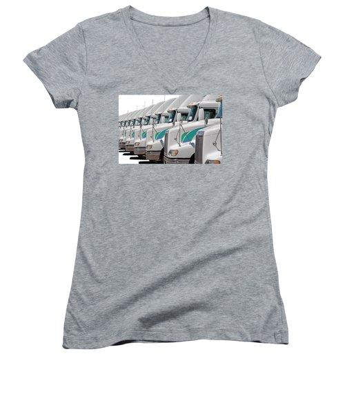 Semi Truck Fleet Women's V-Neck T-Shirt (Junior Cut) by Gunter Nezhoda