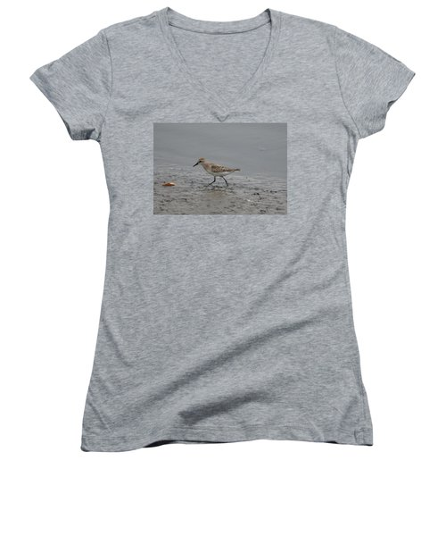 Women's V-Neck T-Shirt (Junior Cut) featuring the photograph Semipalmated Sandpiper by James Petersen