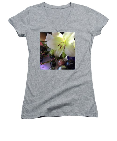 Women's V-Neck T-Shirt (Junior Cut) featuring the photograph Send The Light Lily With Marbles by Bonnie Willis