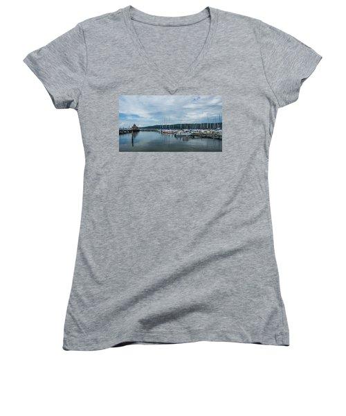 Seneca Lake Harbor - Watkins Glen - Wide Angle Women's V-Neck T-Shirt (Junior Cut) by Photographic Arts And Design Studio