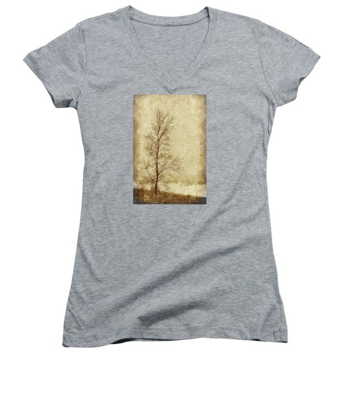 Sentinel Tree In Winter Women's V-Neck T-Shirt (Junior Cut) by Nikolyn McDonald