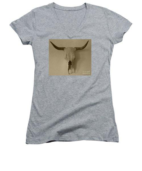Sepia Skull Women's V-Neck T-Shirt