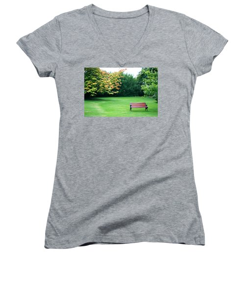 Women's V-Neck T-Shirt (Junior Cut) featuring the photograph Serenity by Charlie and Norma Brock