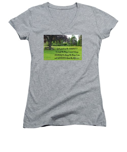 Serenity Prayer And Park Bench Women's V-Neck (Athletic Fit)