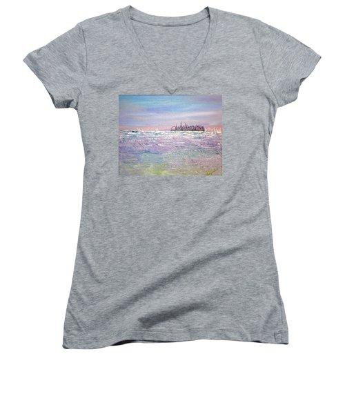 Serenity Sky Women's V-Neck T-Shirt (Junior Cut) by George Riney