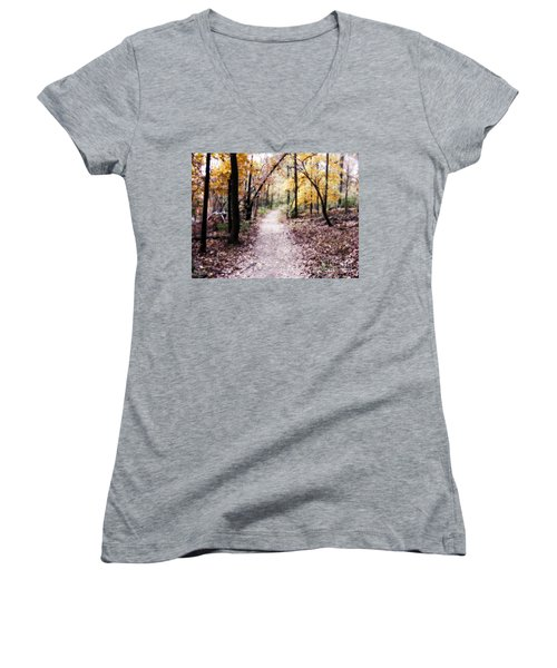 Women's V-Neck T-Shirt (Junior Cut) featuring the photograph Serenity Walk In The Woods by Peggy Franz