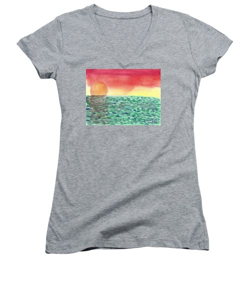 Women's V-Neck T-Shirt (Junior Cut) featuring the painting Setting Sea by John Williams