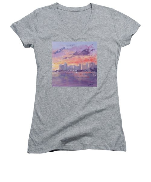 Setting Sun Over Boston  Women's V-Neck T-Shirt