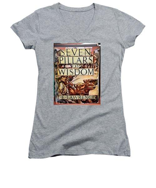 Seven Pillars Of Wisdom Lawrence Women's V-Neck T-Shirt (Junior Cut) by Jay Milo