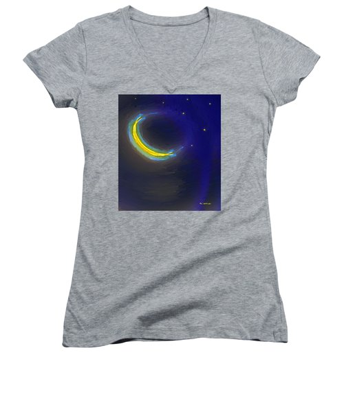 Seven Stars And The Moon Women's V-Neck T-Shirt (Junior Cut) by RC deWinter