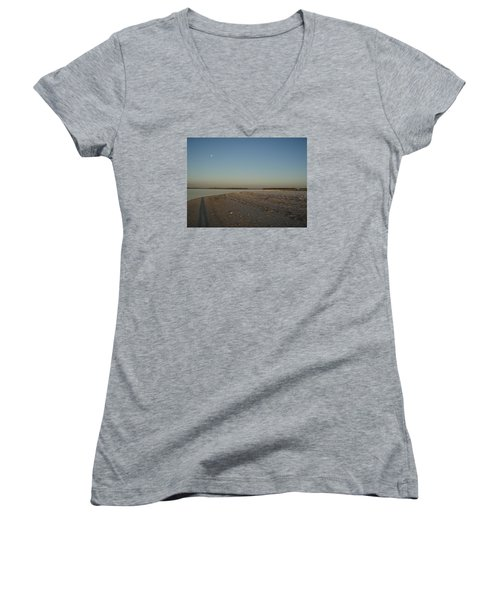 Women's V-Neck T-Shirt (Junior Cut) featuring the photograph Shadow Moon by Robert Nickologianis