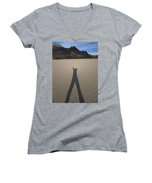 Shadowman Women's V-Neck T-Shirt (Junior Cut) by Joe Schofield