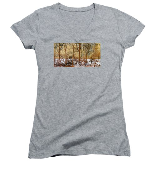 Women's V-Neck T-Shirt (Junior Cut) featuring the photograph Shadows In The Urban Jungle by Nina Silver