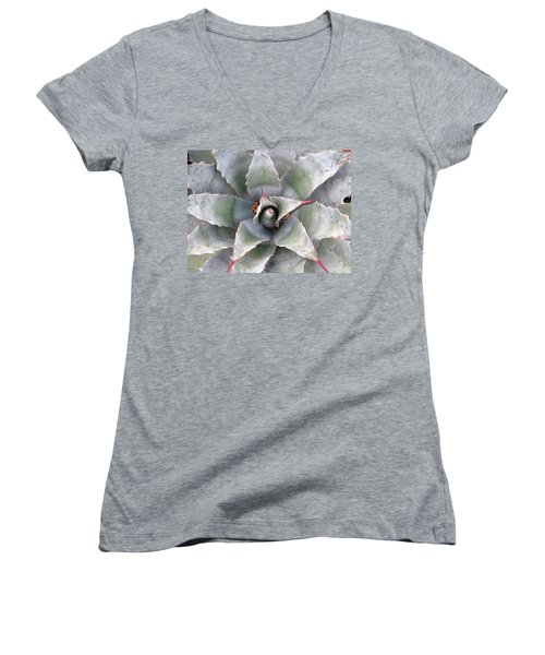 Women's V-Neck T-Shirt (Junior Cut) featuring the photograph Sharply Circular by Laurel Powell