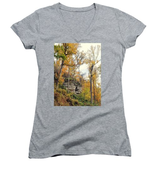 Women's V-Neck T-Shirt (Junior Cut) featuring the photograph Shawee Bluff In Fall by Marty Koch
