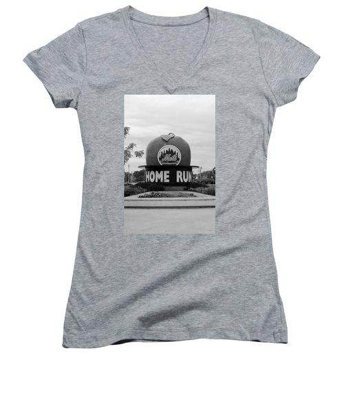 Shea Stadium Home Run Apple In Black And White Women's V-Neck T-Shirt (Junior Cut) by Rob Hans