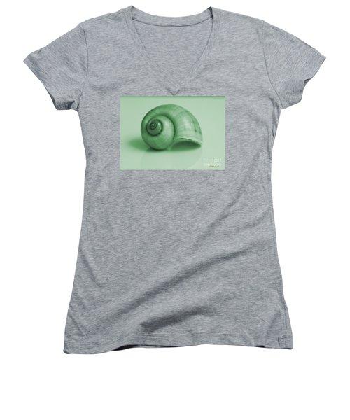 Shell. Light Green Women's V-Neck