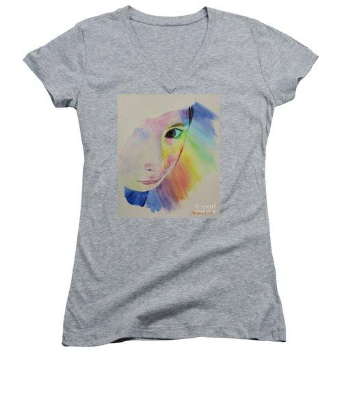 She's A Rainbow Women's V-Neck T-Shirt