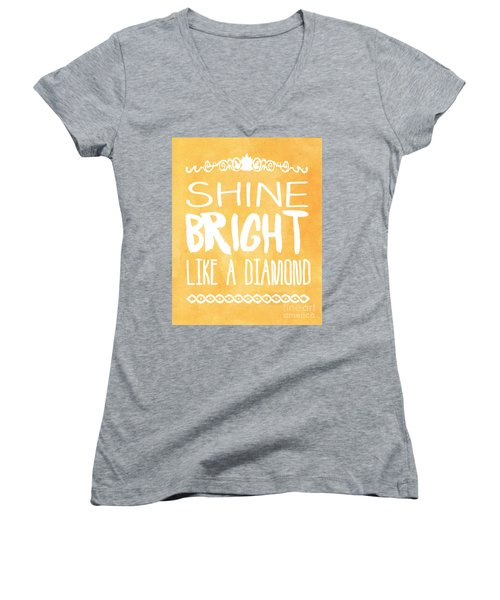 Shine Bright Orange Women's V-Neck T-Shirt (Junior Cut) by Pati Photography