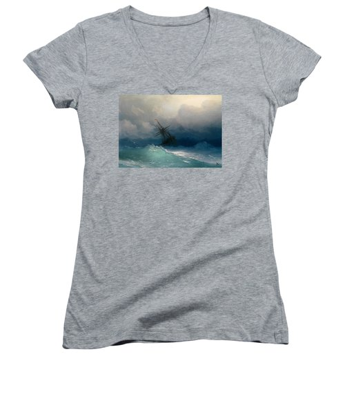 Ship On Stormy Seas Women's V-Neck T-Shirt
