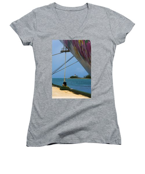 Ship's Ropes And Lighthouse Women's V-Neck